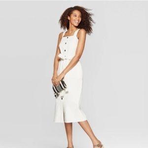 Universal Thread Cream Button Front Midi Dress